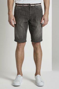 tom tailor loose fit jeans »josh regular slim jeans-shorts mit guertel« grijs
