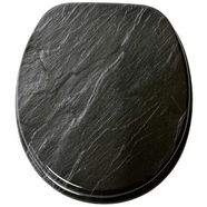 sanilo toiletzitting graniet met soft-closemechanisme zwart