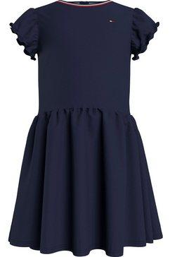tommy hilfiger jerseyjurk lg pique dress met klein ruche aan de mouwen blauw