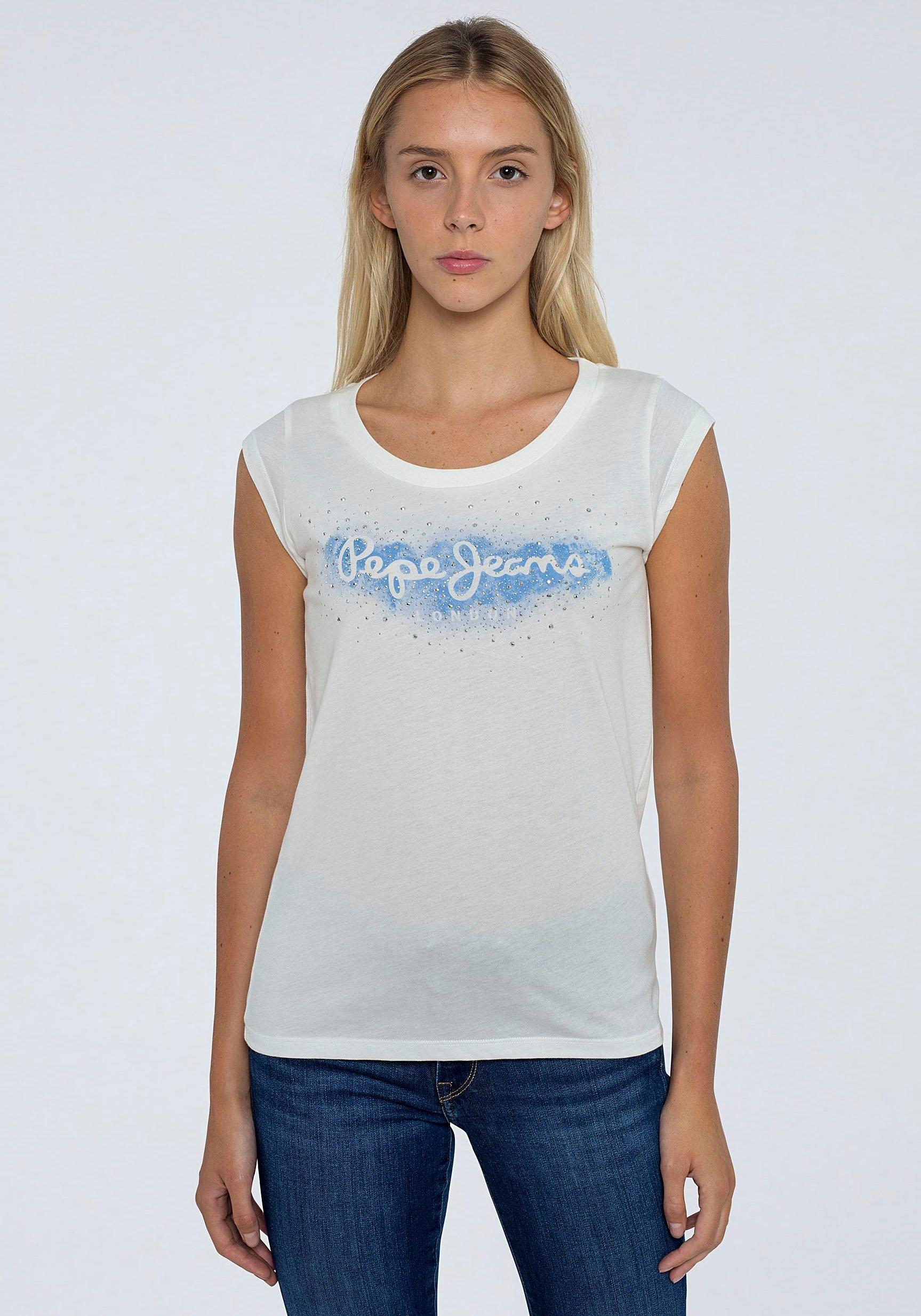 Pepe Jeans Shirt met korte mouwen CAMILA met grote ronde frontprint met logo en glinstersteentjes bestellen: 30 dagen bedenktijd