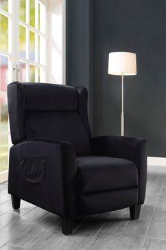 atlantic home collection relaxfauteuil timo klassieke oorfauteuil met moderne relaxfunctie en praktisch zijzak zwart