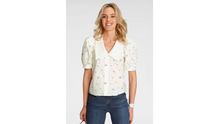 Levi's® blouse met korte mouwen met bloemborduursels