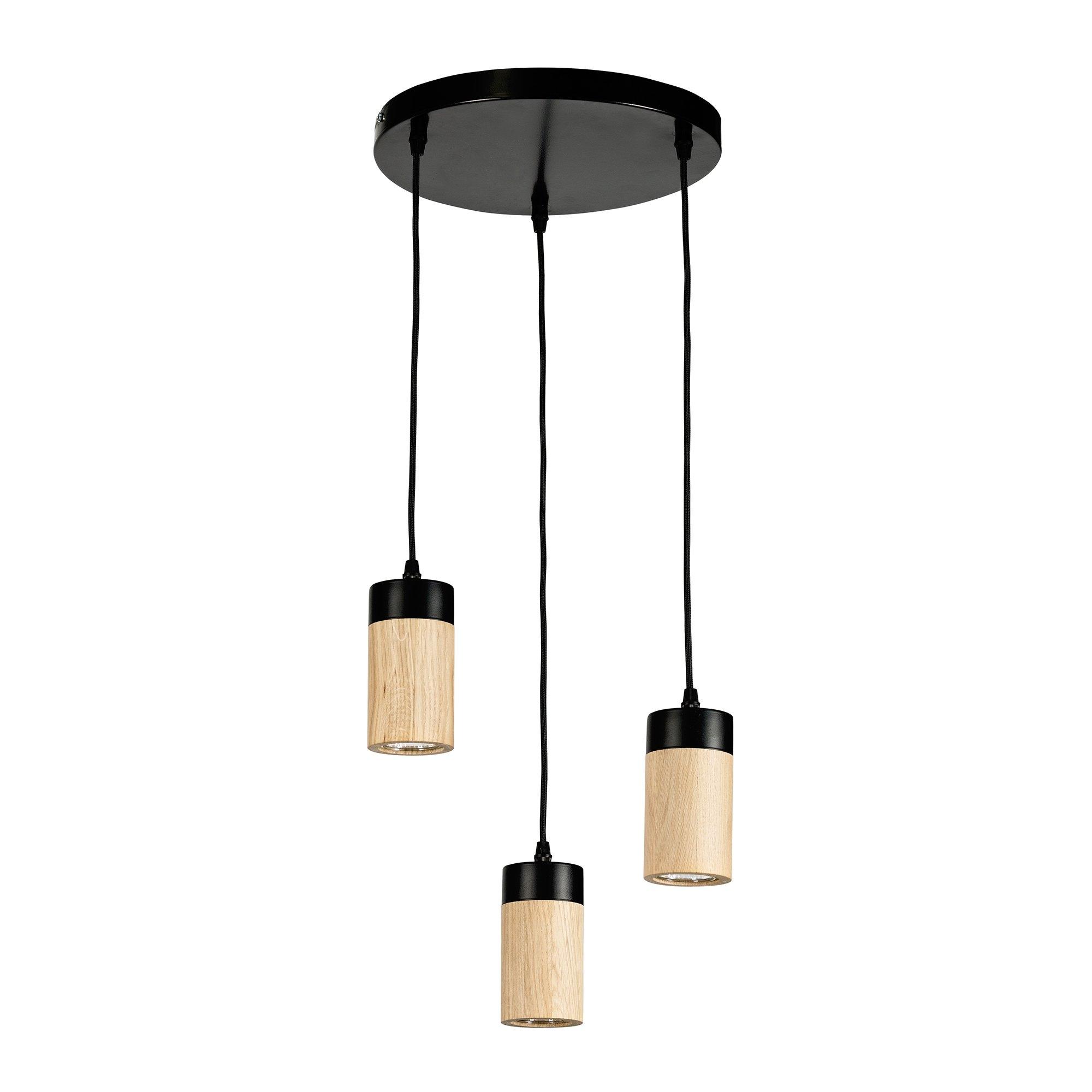 BRITOP LIGHTING hanglamp ANNICK Hanglamp, van chic eikenhout en metaal, met textielen kabel, ledverlichting inclusief, Made in Europe online kopen op otto.nl