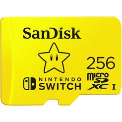 sandisk geheugenkaart microsdxc extreme 256gb (a1- v30- u3- c10- r100- w90) fuer nintendo switch geel
