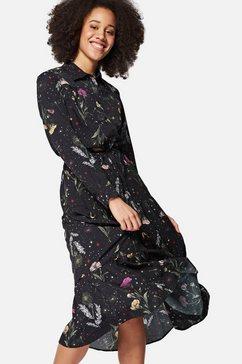mavi jeans maxi-jurk printed shirt dress met doorknoopsluiting en volant bij de zoomrand zwart