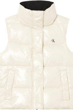 calvin klein bodywarmer mw high shine puffer vest beige