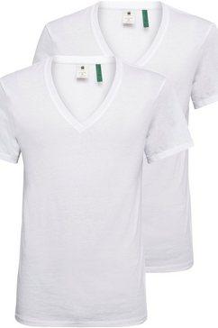 g-star raw shirt met v-hals »base htr v t s-s 2-pack« (set van 2) wit