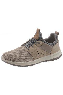 skechers sneakers delson-camben met praktisch elastiek bruin