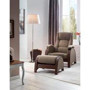 delavita relaxfauteuil kander met schommelfunctie en schommelhocker, 3-voudige verstelbare rugleuning bruin