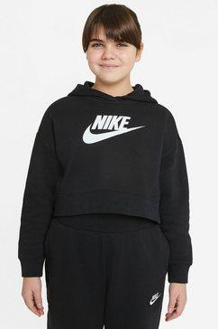 nike sportswear hoodie club big kids (girls) french terry zwart