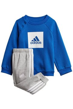 adidas performance joggingpak 3-stripes fleece (set, 2-delig) blauw