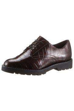 tamaris veterschoenen in een trendy kroko-look bruin
