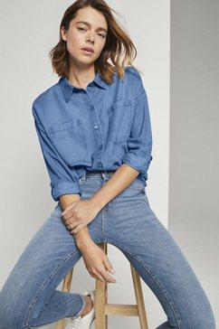 tom tailor denim blouse met lange mouwen blauw