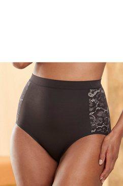 maidenform modellerende slip tame your tummy brief met contrastkleurig tegengevoerde kant aan beide kanten opzij zwart