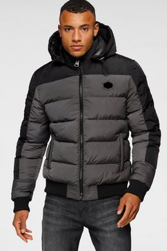 cipo  baxx gewatteerde jas met een capuchon grijs