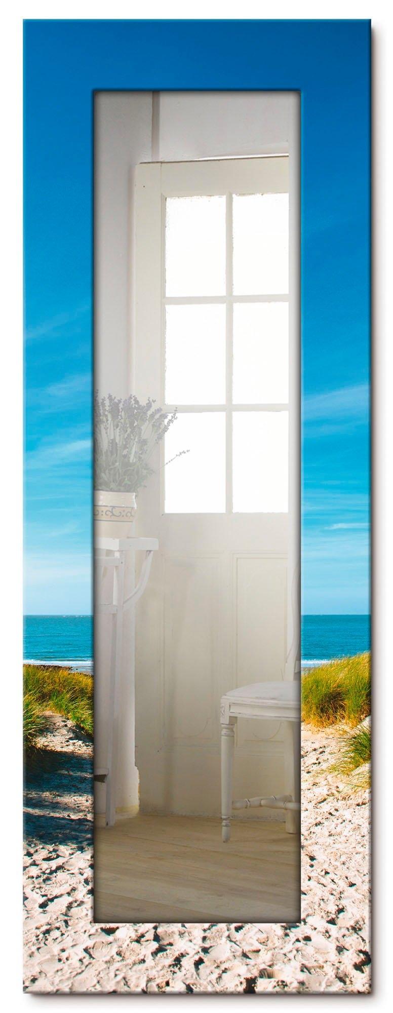 Artland wandspiegel Strand met duinen en weg naar het water ingelijste spiegel voor het hele lichaam met motiefrand, geschikt voor kleine, smalle hal, halspiegel, mirror spiegel omrand om op te hangen - verschillende betaalmethodes