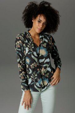 aniston casual blouse zonder sluiting met schilderachtige bloemenprint zwart
