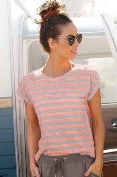 bench. shirt met korte mouwen met transparante neon-inzetten beige