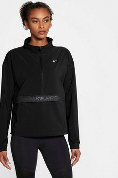 nike trainingsshirt »nike pro woven women's packable cover-up« zwart