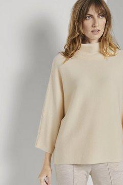 tom tailor trui met staande kraag gestructureerde trui met staande kraag beige