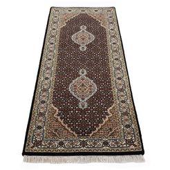 woven arts loper oosters tapijt tabriz mahi met de hand geknoopt, woonkamer, zuivere wol zwart