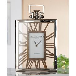 gilde staande klok klok rusto hoogte 34 cm, hoekig, romeinse cijfers, woonkamer (1 stuk) zilver