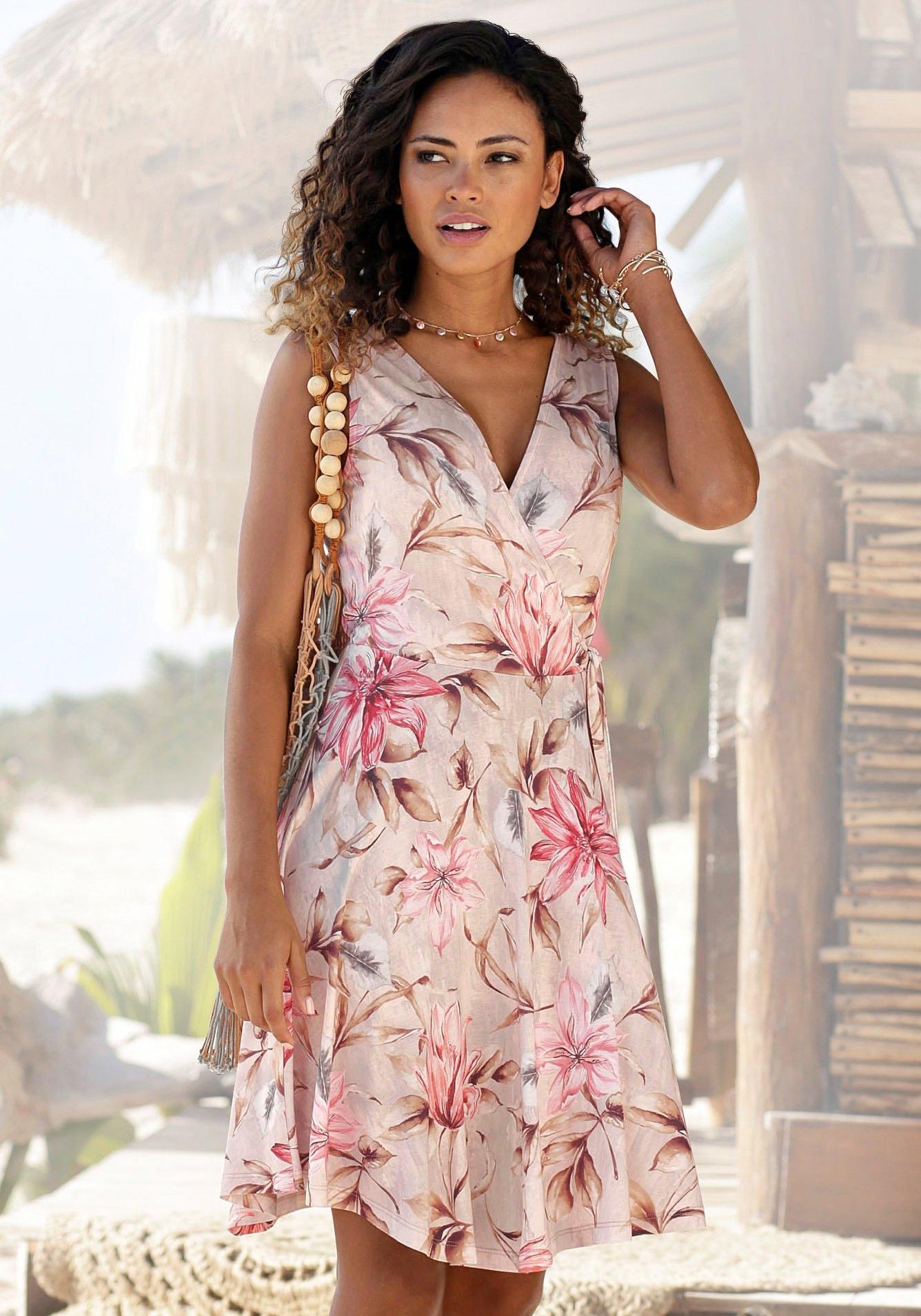 s.Oliver RED LABEL Beachwear gedessineerde jurk met bindstrik opzij veilig op otto.nl kopen