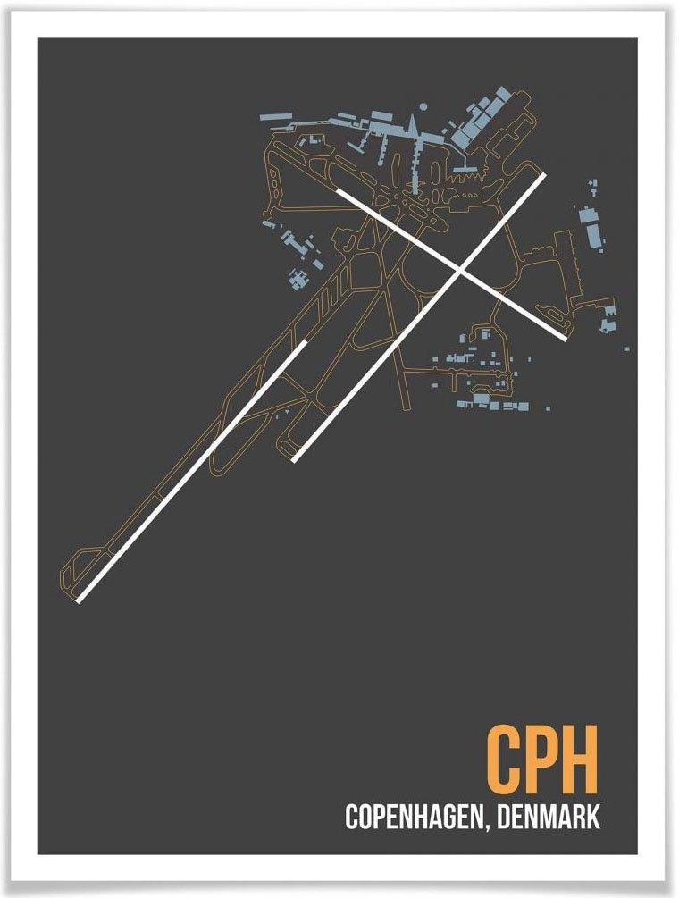Wall-Art poster Artprint CPH plattegrond Kopenhagen Poster, artprint, wandposter (1 stuk) - verschillende betaalmethodes