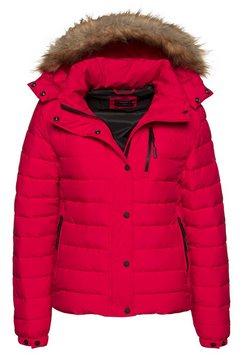 superdry gewatteerde jas »classic faux fur fuji jacket« rood