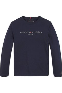 tommy hilfiger shirt met lange mouwen »essential tee l-s« blauw