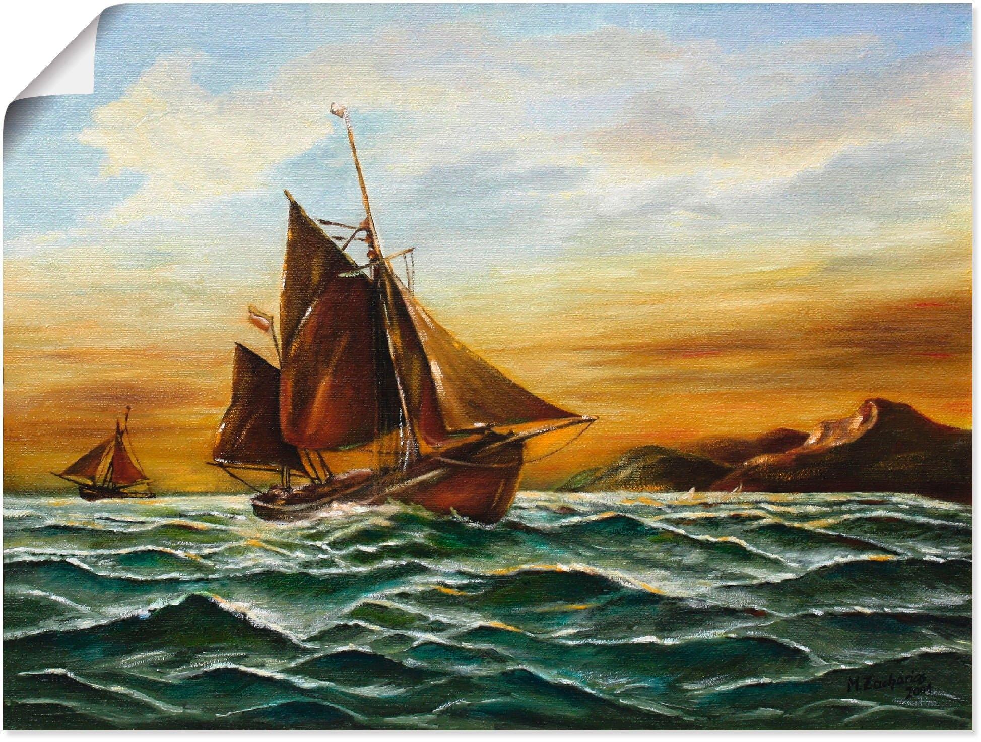 Artland artprint Zeilschip op zee - maritieme schilderkunst in vele afmetingen & productsoorten - artprint van aluminium / artprint voor buiten, artprint op linnen, poster, muursticker / wandfolie ook geschikt voor de badkamer (1 stuk) in de webshop van OTTO kopen