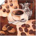 artland artprint koffietijd in vele afmetingen  productsoorten - artprint van aluminium - artprint voor buiten, artprint op linnen, poster, muursticker - wandfolie ook geschikt voor de badkamer (1 stuk) bruin