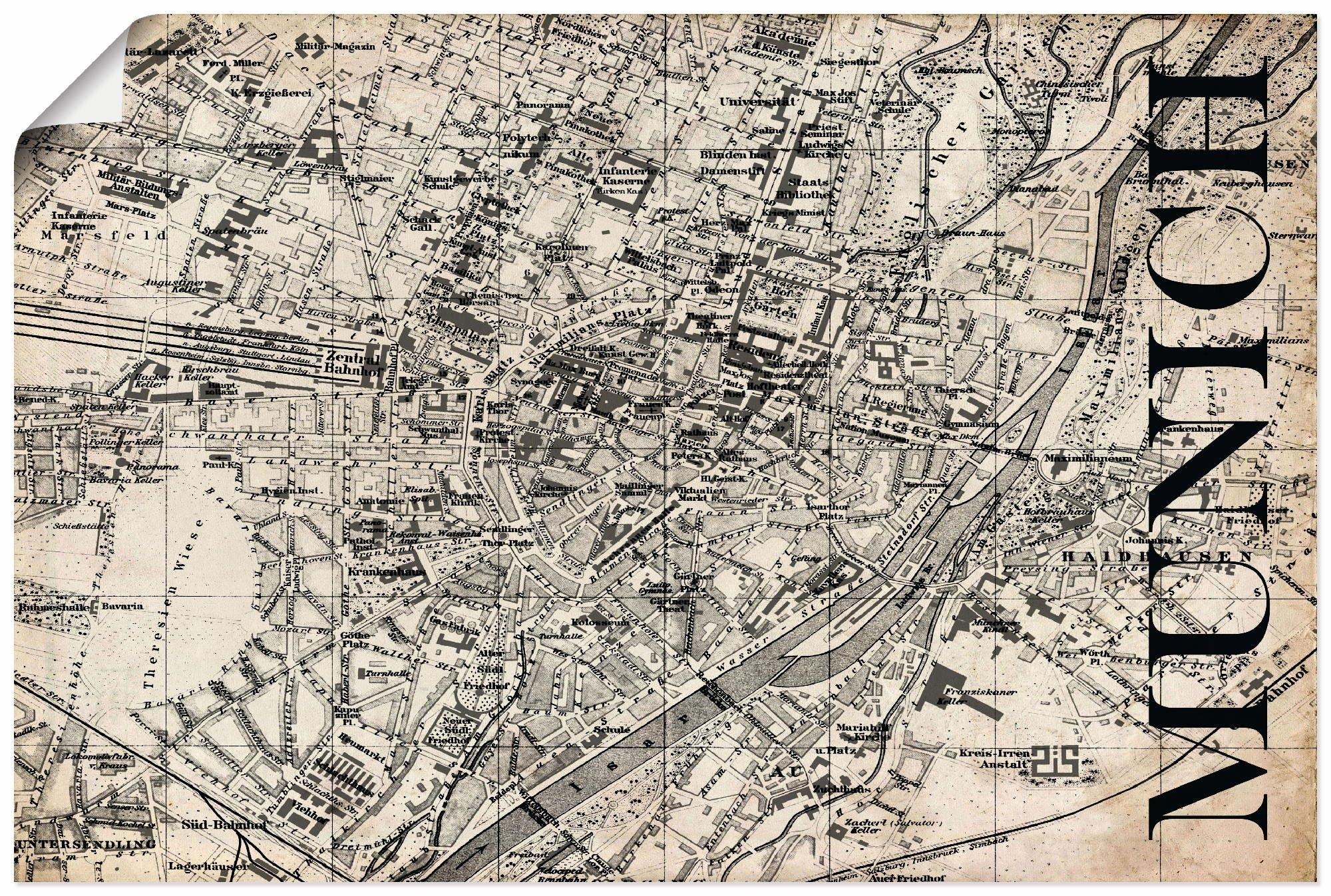 Artland artprint »München Karte Straßen Karte Grunge« nu online bestellen