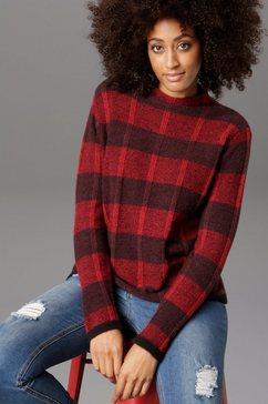 aniston selected gebreide trui met kleine staande kraag rood