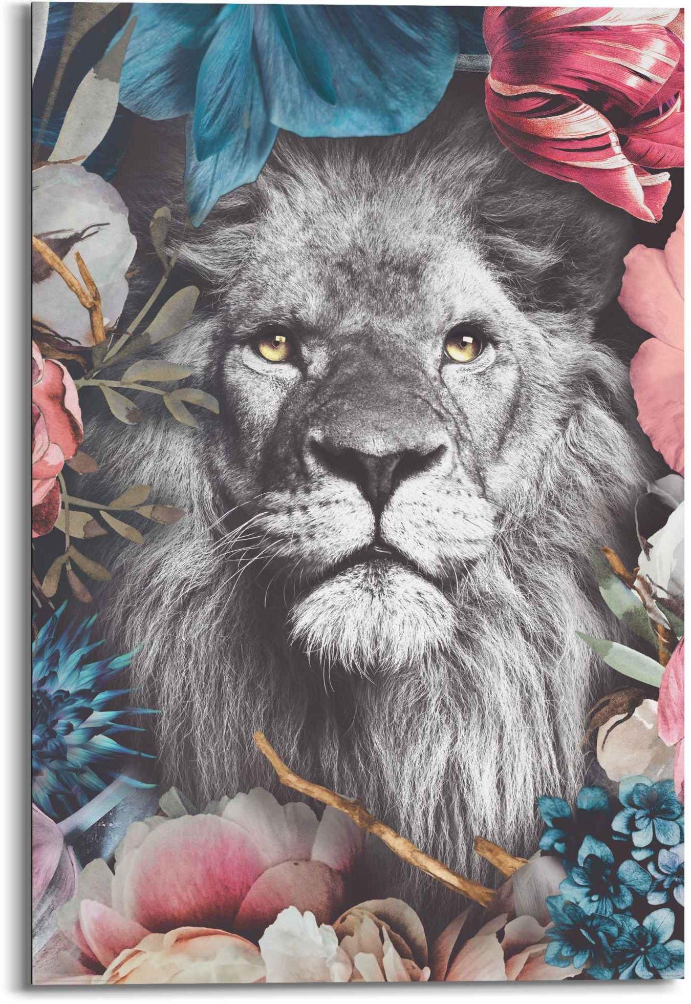 Reinders! artprint leeuw bloemenkrans - planten - in vrolijke kleuren (1 stuk) nu online kopen bij OTTO