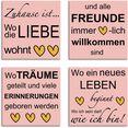 artland artprint op linnen waar de liefde woont (4 stuks) roze