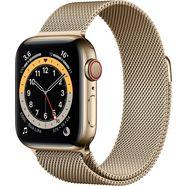 apple watch series 6 gps + cellular, edelstalen kast met milanaisebandje 40 mm inclusief oplaadstation (magnetische oplaadkabel) goud