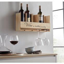 home affaire wijnrek met houder voor flessen en glazen beige