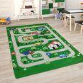 paco home vloerkleed voor de kinderkamer chicos 559 straten-speelkleed, kinderkamer groen