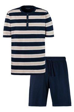 schiesser shortama blokstrepen shirt met knoopsluiting blauw