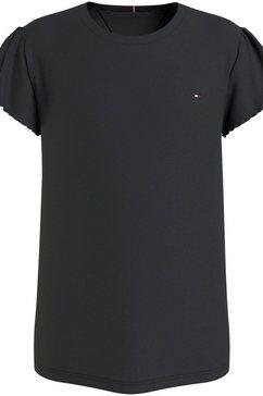tommy hilfiger t-shirt essential ruffle sleeve met gegolfde mouwboorden zwart