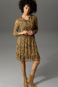 aniston casual party-jurk in slangen-look of grafische print all-over geel