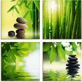 artland print op glas spa stilleven bamboe steenpiramide (4 stuks) groen
