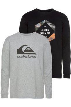 quiksilver longsleeve photo logo ls tee pack (set, 2-delig, set van 2) zwart