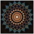 artland print op glas mandala kosmisch bewustzijn (1 stuk) beige
