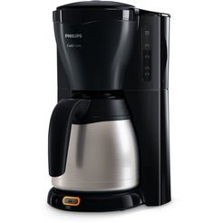 philips filterkoffieapparaat gaia therm timer hd7549-20, 1,2 l, met dubbelwandige thermoskan van edelstaal zwart