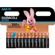 duracell batterij ultra power micro aaa lr03 (set, 12 stuks) zwart