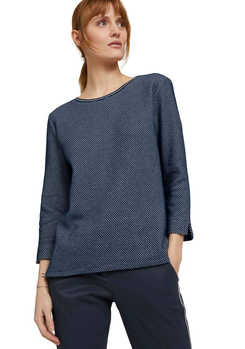 Tom Tailor sweater met zijsplitten onderlangs en in de mouwen - gratis ruilen op otto.nl
