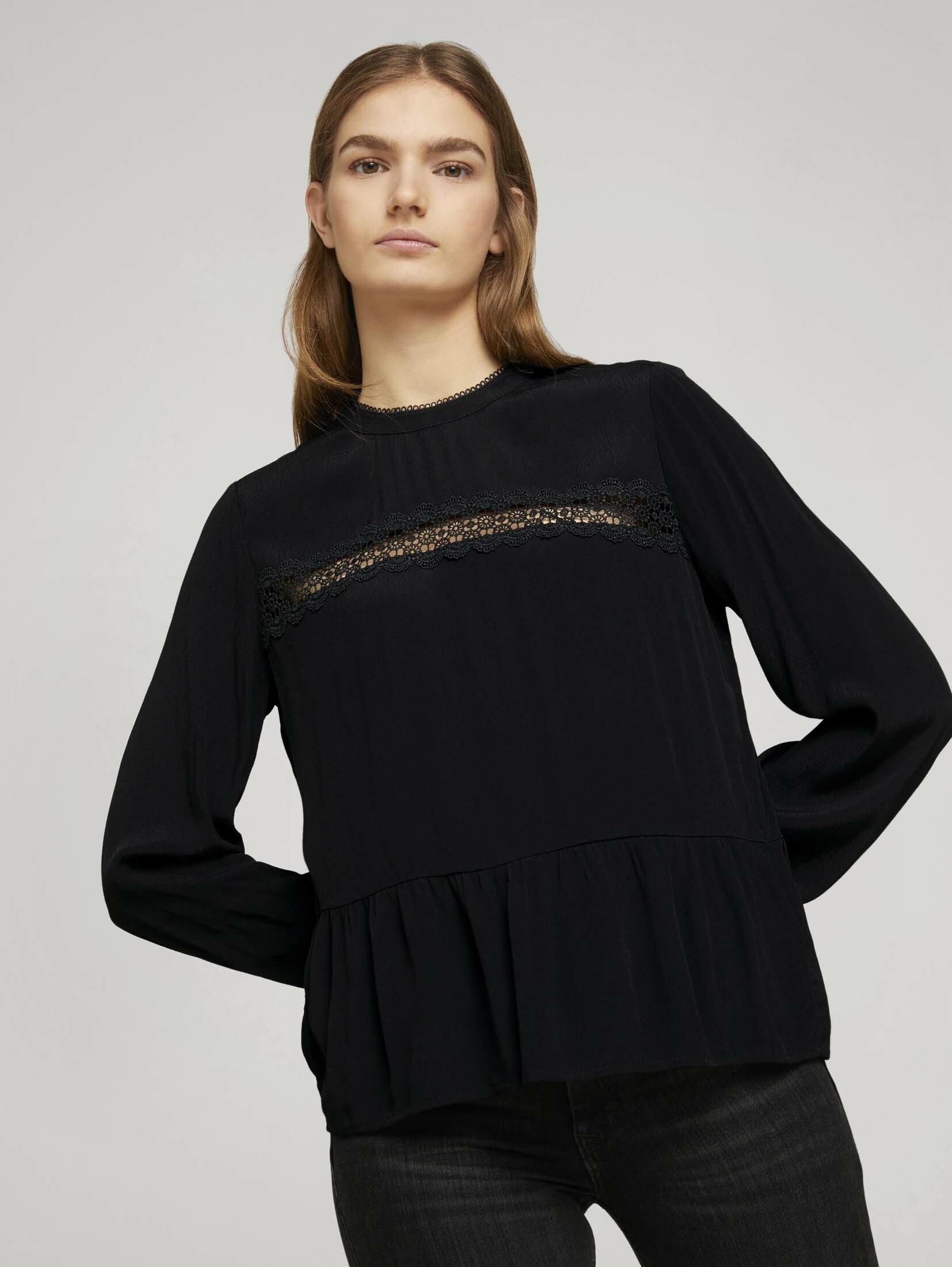 Op zoek naar een Tom Tailor Denim shirtblouse »Stehkragenbluse mit Schößchen«? Koop online bij OTTO