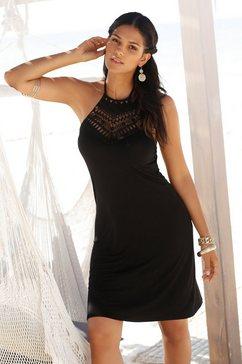 lascana jurk in haltermodel met inzet bovenaan zwart